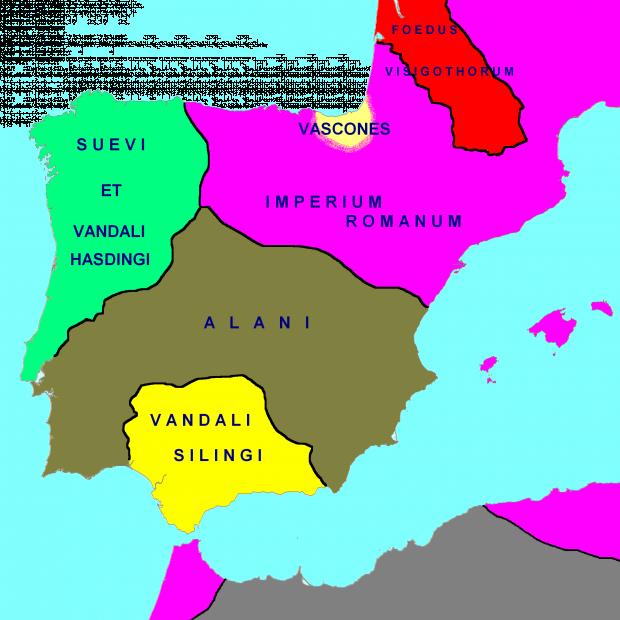 Península Ibérica en 418