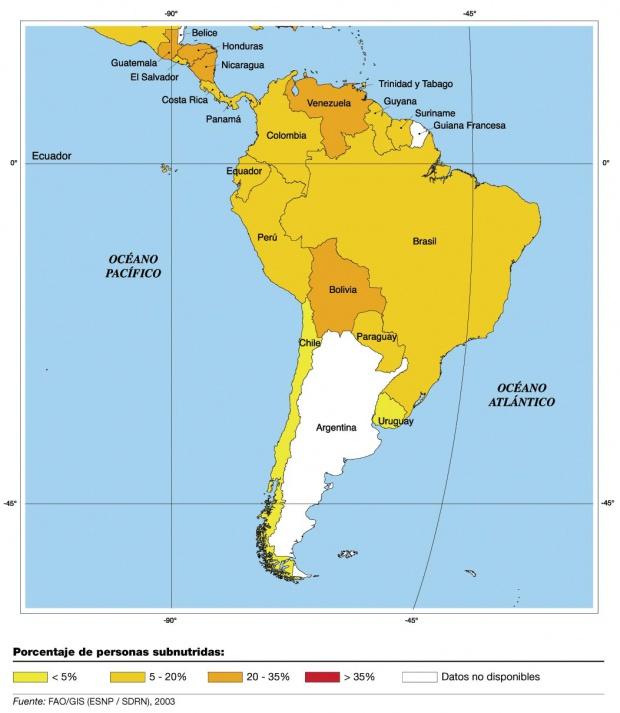 Personas subnutridas en América del Sur 2003