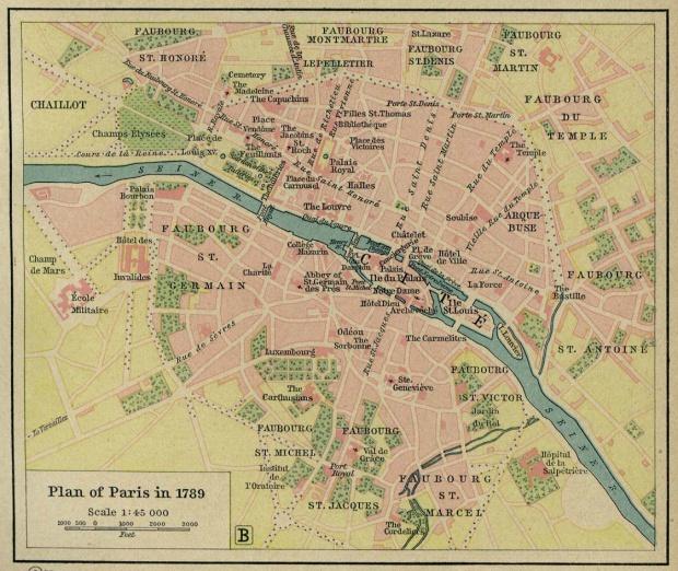 Plano de París, Francia 1789