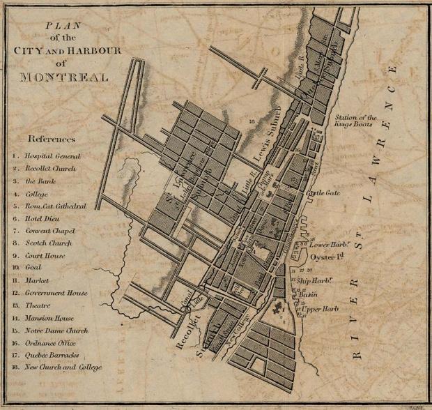 Plano de la Ciudad y Puerto de Montreal, Quebec, Canadá 1882