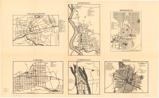 Planos de las Ciudades de Aguascalientes, Chihuahua, Córdoba, Cuernavaca, Hermosillo, Mérida, México 1919