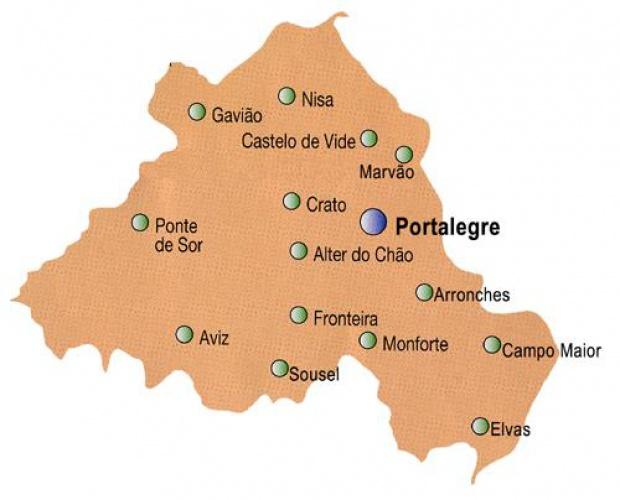Portalegre District Map, Portugal