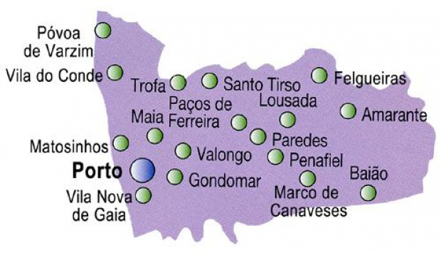 Porto District Map, Portugal