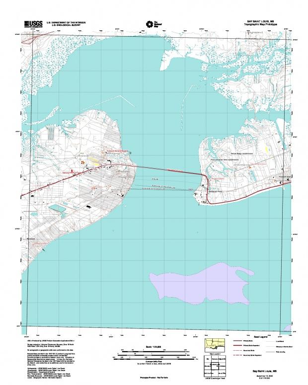 Prototipo de Mapa Topográfico de Bay Saint Louis, Misisipi, Estados Unidos, Septiembre 12, 2005