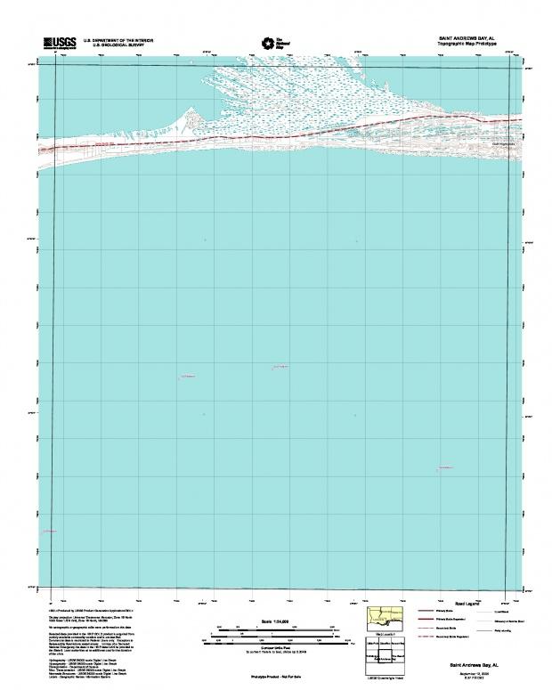 Prototipo de Mapa Topográfico de Saint Andrews Bay, Alabama, Estados Unidos, Septiembre 12, 2005