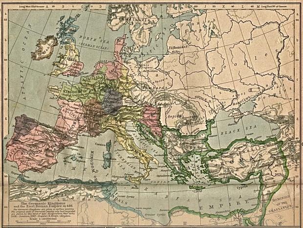 Reinos Germánicos y el Imperio Romano de Oriente en 486