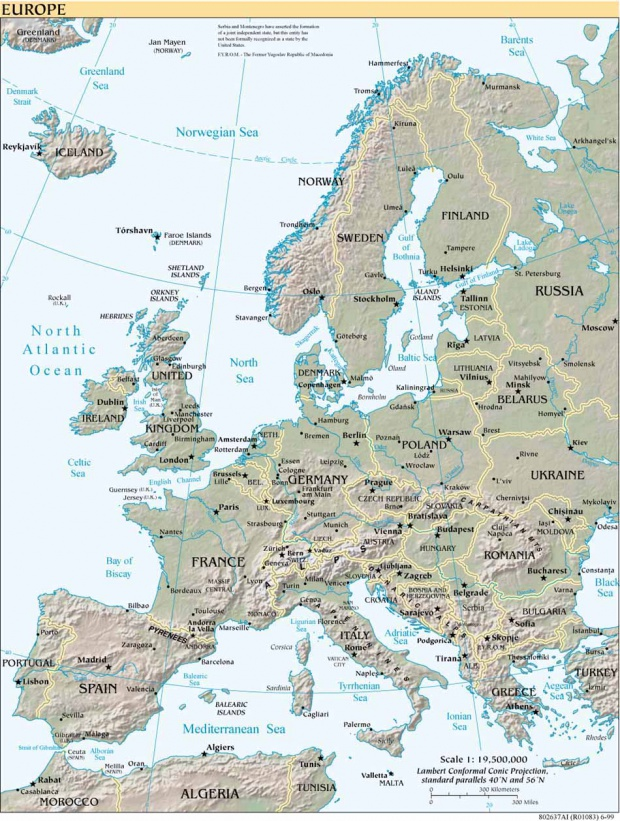 Relieve de Europa 1999