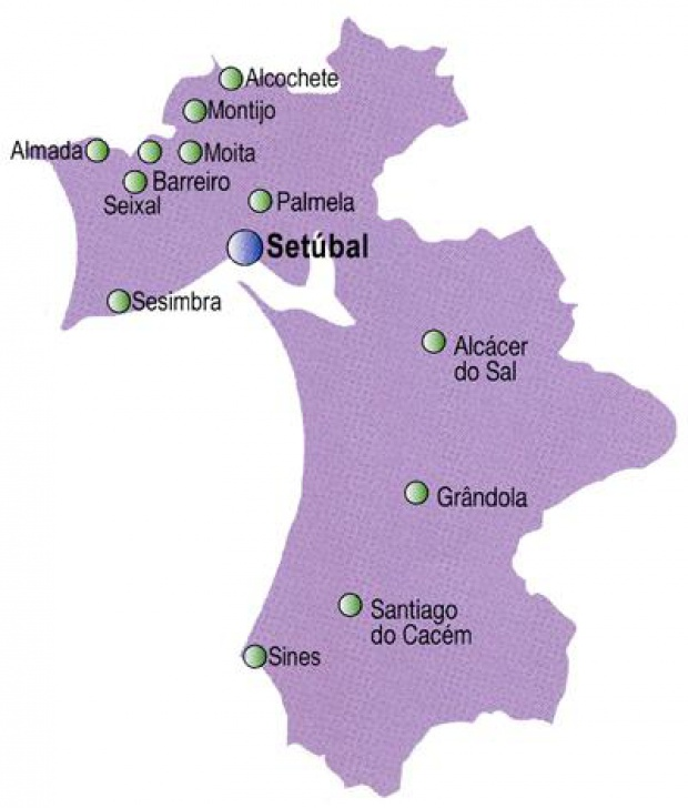 Setúbal District Map, Portugal