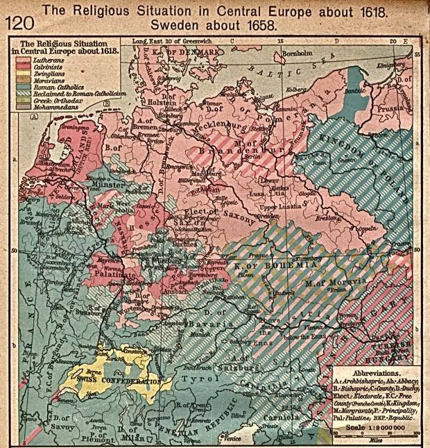 Situación Religiosa en Europa Central Circa 1618