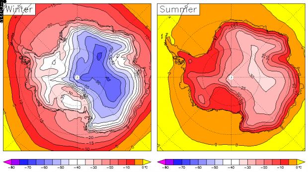 Temperatura de la superficie antártica 1979-2001